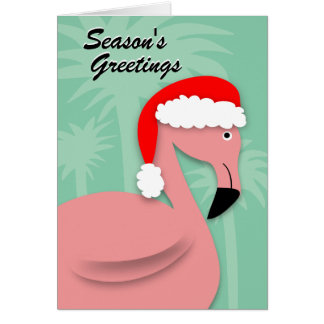 Retro Christmas Card - Pink Flamingo