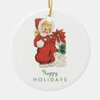 Retro Christmas Cute Girl Red Poinsettia Photo Ceramic Ornament