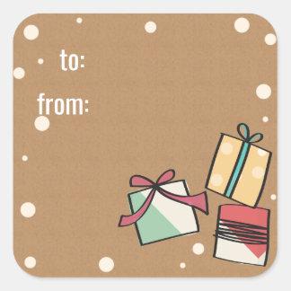 Retro Christmas gift tag Square Sticker