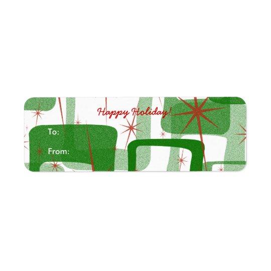 Retro Christmas Gift Tag Stickers Return Address Label