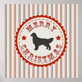 Retro Christmas Golden Retriever Dog Poster