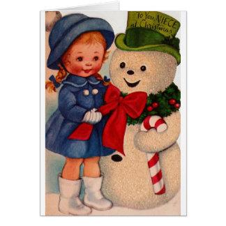 Retro Christmas Greeting Card for Niece