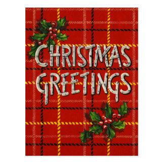 Retro Christmas Greetings Plaid BirchWood Postcard