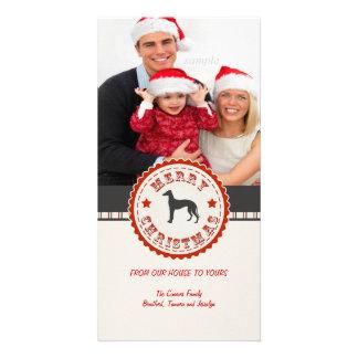 Retro Christmas Greyhound Dog Custom Photo Card