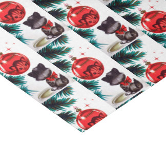 Retro Christmas Holiday cat party tissue Tissue Paper