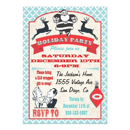 Retro Christmas Holiday Cocktail Party Invitations