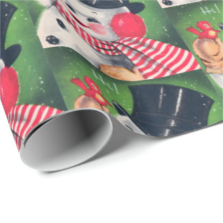 Retro Christmas Holiday snowman party wrap Wrapping Paper