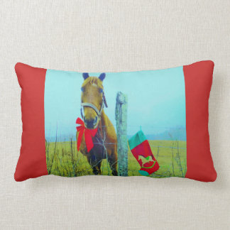 Retro Christmas Horse with Stocking and Red bow Lumbar Pillow