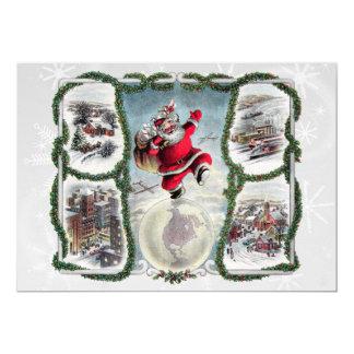 "Retro Christmas 5"" X 7"" Invitation Card"