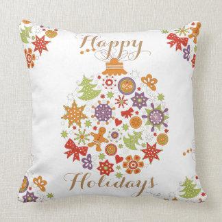 Retro Christmas Ornament Throw Pillow