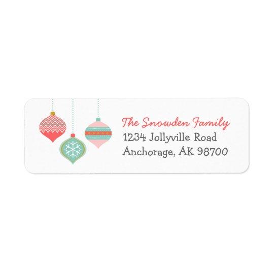 Retro Christmas Ornaments Return Address Labels