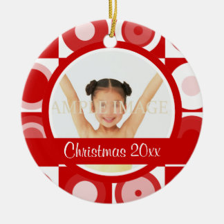 Retro Christmas photo personalize Ceramic Ornament