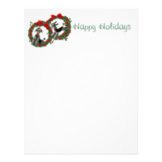 Retro Christmas Poodles in Wreaths Letterhead Design