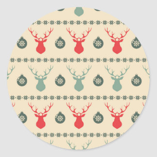 Retro Christmas Red Reindeer and Ornaments Round Sticker