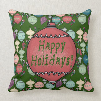 Retro Christmas Reload - Pastels on Bottle Green Throw Pillow