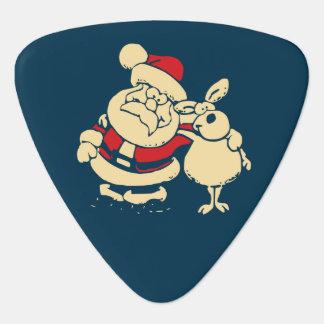 Retro Christmas Santa and his Reindeer Buddy Guitar Pick