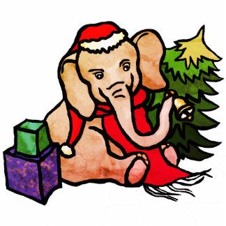 Retro Christmas Santa Cartoon Elephant Photo Sculpture Ornament