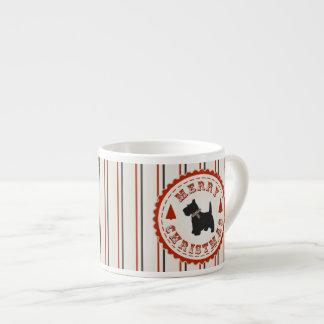 Retro Christmas Scottish Terrier Dog 6 Oz Ceramic Espresso Cup