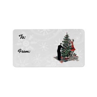 Retro Christmas Tree Gift Tags