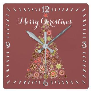 Retro Christmas Tree Square Wall Clock