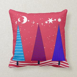 Retro Christmas Trees Design Pillow
