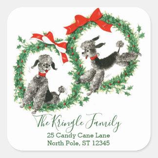 Retro Christmas Vintage Poodles Return Address Square Sticker