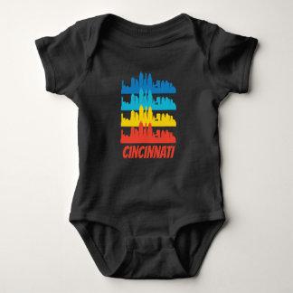 Retro Cincinnati OH Skyline Pop Art Baby Bodysuit