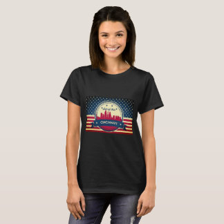 Retro Cincinnati Ohio Skyline T-Shirt