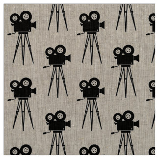 RETRO CINEMA CAMERA AND TRIPOD MOTIF FABRIC