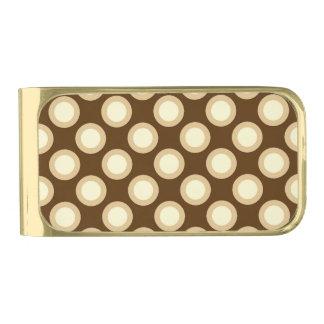 Retro circled dots, chocolate, cream and tan gold finish money clip