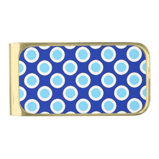 Retro circled dots, cobalt blue and white gold finish money clip