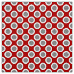 Retro circled dots, deep red and grey fabric