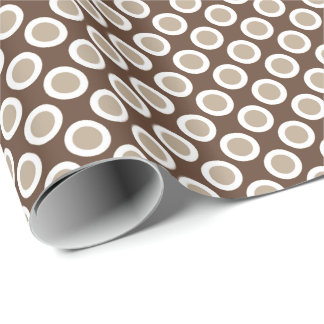 Retro circled dots, shades of taupe tan wrapping paper
