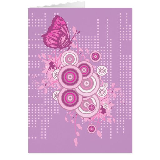 retro circles and butterfly design card