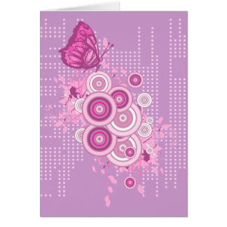 retro circles and butterfly design greeting card