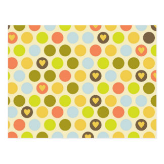 Retro Circles and Hearts Pattern Green Gold Blue Postcard