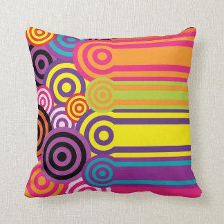 Retro Circles and Stripes 60's Style Pattern Throw Pillow