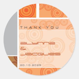 Retro Circles Blocks Orange Gift Label Sticker