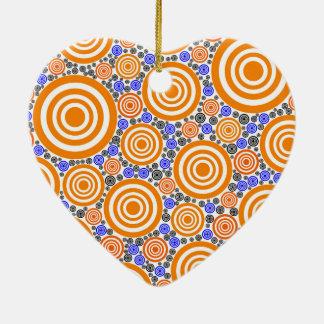 Retro Circles Ceramic Heart Ornament