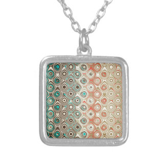 Retro Circles Pattern Silver Plated Necklace