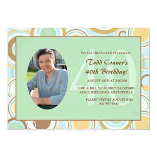 Retro Circles Photo Invitation
