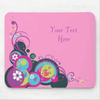 Retro Circles, Swirls & Flowers Mouse Pad