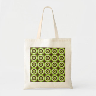 Retro Circles Tote Bag - Green & Chocolate Brown