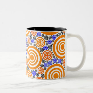 Retro Circles Two-Tone Coffee Mug