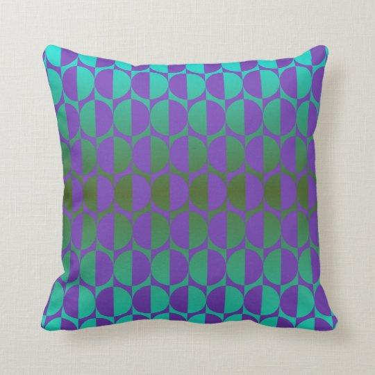 Retro circles violet, green throw pillow