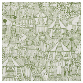 retro circus green ivory fabric