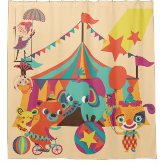 Retro Circus With Elephant, Bear, Acrobats