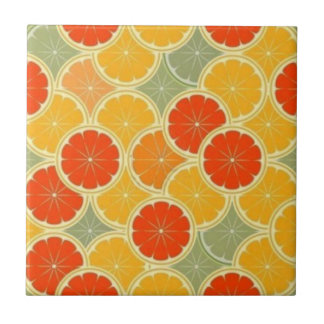 "Retro Citrus Fruit Cheerful Small (4.25"" x 4.25"") Tile"