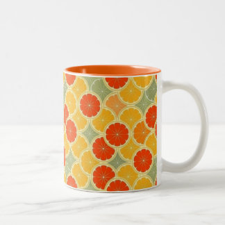 Retro Citrus Fruit Cheerful Two-Tone Coffee Mug