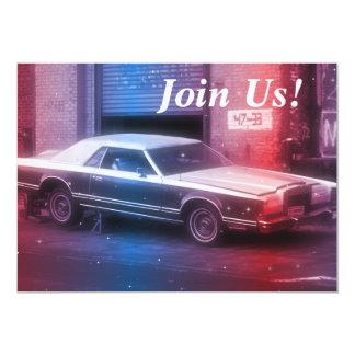"Retro Classic 70's Car Retirement Birthday Party 5"" X 7"" Invitation Card"